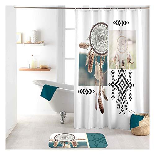 Sanixa Duschvorhang Textil 180x200 cm Federn weiß Petrol Traumfänger wasserabweisend waschbar Badewannenvorhang Vorhang hochwertige Qualität mit Ringen Metallösen