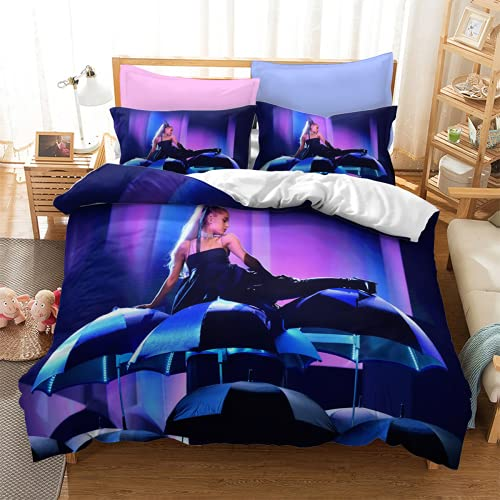 YYXPDD Juego de ropa de cama de 3 piezas de Beauty Singer Ariana Grande, funda nórdica de 100% microfibra, fácil de cuidar y mantener el calor (Ariana 3,140 x 210 cm + 80 x 80 cm x 2)