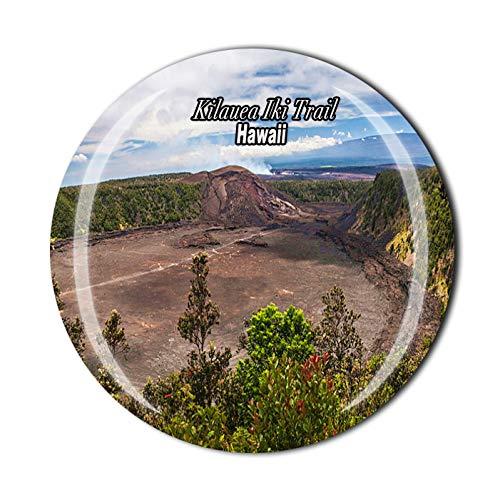 Kilauea Iki Trail Hawaii USA Imán 3D para nevera de cristal de recuerdo de viaje, colección de recuerdo de regalo para decoración del hogar y la cocina