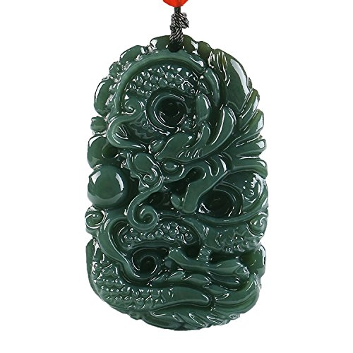 Pure natural hand carved qing jade dragon necklace pendant (Dragon)