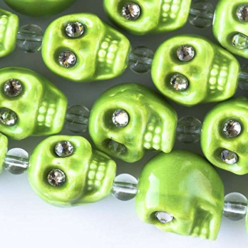 Cherry Blossom Beads Ceramic 13mm Lime Green Skull Beads with Crystal Eyes - 4 Inch Strand