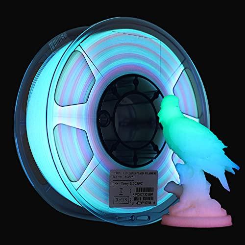 eSUN Filamento PLA 1.75mm, Impresora 3D Filamento PLA Glow in the Dark Arcoíris, Precisión Dimensional +/- 0.05mm, 1KG (2.2 LBS) Carrete para Filamento de Impresión 3D, Rainbow Multicolor Luminoso