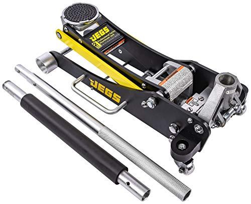 JEGS Professional Low-Profile 2-Ton Aluminum Floor Jack | 3 ½ Inch Minimum Saddle Height | Lightweight Construction | 360 Degree Rotating Saddle