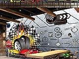 Fond D'Écran 3D Mural Personnalisé Toute Taille Vent Industrielle Voiture Logo En Métal Pneu Voiture De Sport Murale Fond Mur