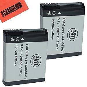Pack of 2 AHDBT-001, AHDBT-002 Batteries FOR GoPro HD HERO, HERO2 Camera