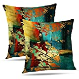 GALMAXS7 Abstract-Art Pillowcover 20 x 20 inch Set of 2 Art Grunge Vintage with Green Red and Gold Abstract Blue Decorative Pillows Case Throw Pillow Cover Decorative Home Decor Green Red Gold