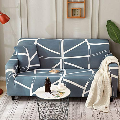 Funda De Sofá Estampada,White Lines Pattern Stretch Sofa Cover Elastic Couch Covers Polyester Spandex Universal Fitted Sofa Living Room Home 1/2/3/4-Seater Slipcovers Furniture Protector,2,Seater 14