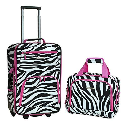 Rockland Fashion Softside Upright Luggage Set, Pink Zebra, 2-Piece (14/19)