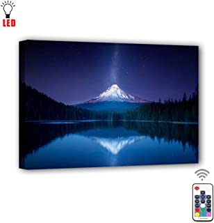 Coming My House Canvas Wall Painting Art Led with Remote Control,RGB Led Mountain Landscape Picture Canvas Wall Art for Living Room,7 Colors Change,Battery Operated-15.75