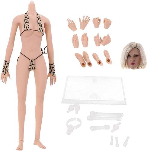 en venta en línea Hellery 1 6 Modelo de Cuerpo de mujer Escultura Cabeza Cabeza Cabeza Desmontables Pies Manos con Conjunto de Bikini Bricolaje Juguete  los últimos modelos