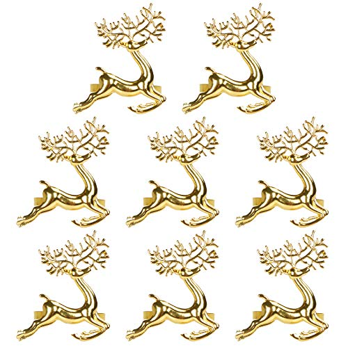 STMK Christmas Deer Napkin Rings, Christmas Napkin Ring for Christmas, Holiday Parties, Dinner Parties, Weddings Receptions, Dining Table Decoration Supplies (Gold Christmas Deer, 8)