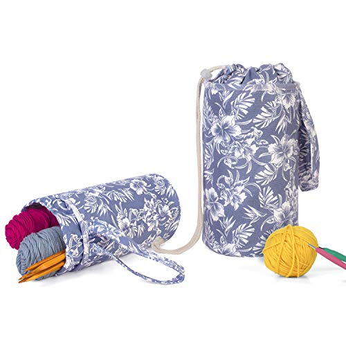 Luxja Small Yarn Storage Bag, Portable Knitting Bag for Yarn Skeins, Crochet Hooks, Knitting Needles (up to 10 Inches) and Other Small Accessories (Small/Flowers)