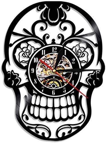 Regalo reloj de pared de vinilo reloj de registro calavera reloj vintage reloj de cuarzo silencioso reloj de pared hecho a mano regalos personalizados para niños y adultos 12 pulgadas -12 pulga