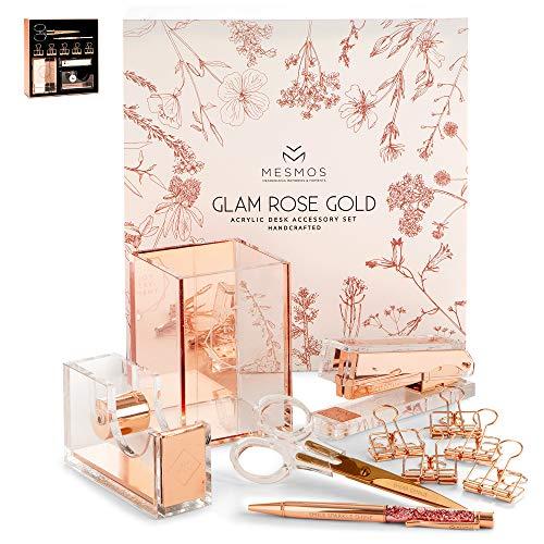 MESMOS Office Supplies Set for Women - Rose Gold, Stylish, 10-Piece Desk Kit with Stapler, Pen, Holder, Scissors, Tape Dispenser - Desktop Organizer