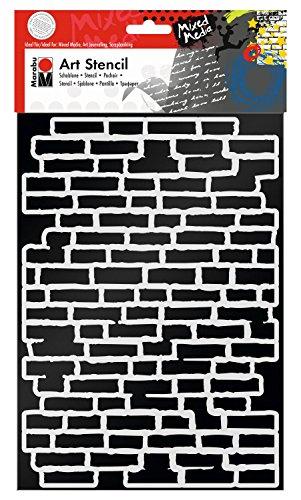Marabu 0285000000001 - Art Stencil, Motivschablone für effektvolles Schablonieren auf Papier, Keilrahmen, Holz und Textilien, PVC - frei, lasergeschnitten, wiederverwendbar, DIN A4, Bricks