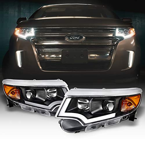 AKKON LED DRL Black Projector Headlights compatible with 2011-2014 Ford Edge Halogen Type Models