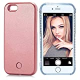 PHILIPOUS Compatible for iPhone X case, iPhone Xs Case, LED Illuminated Selfie Light, [Rechargeable] Cell Phone Cover Light up Phone case Flashlight Case (Rose Gold, iPhone X/XS case)