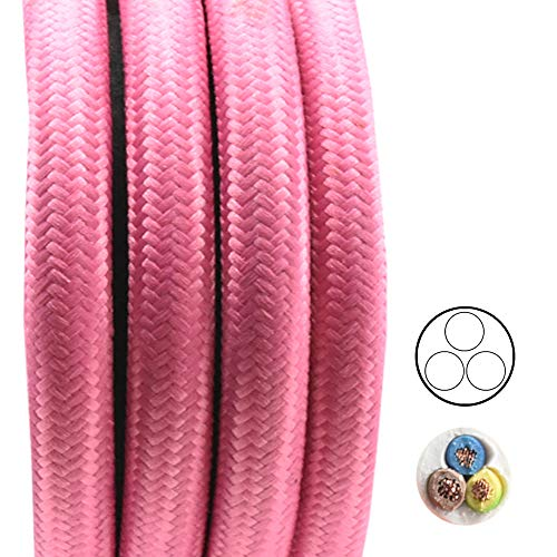 1,20m textiel kabel neon roze roze 3-aderig 0,75 mm2 stof kabel voor hang- en hanglampen stroomkabel met stof lampkabel