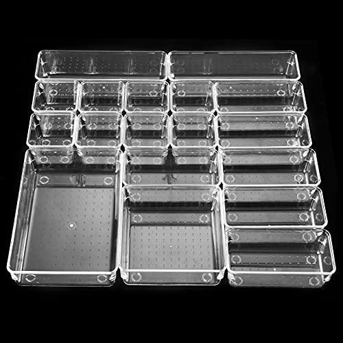 18 PCS Cajas Organizador de Cajón Plástico,Aokyom Organizadores Transparentes para Cajones Cajas Bandejas de Plástico Transparente Apilables Almacenamiento para Cajones,Escritorio,Baño,Maquillaje