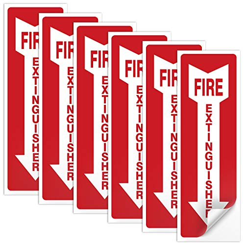 (6 Pack) Fire Extinguisher Sign 4 X 12