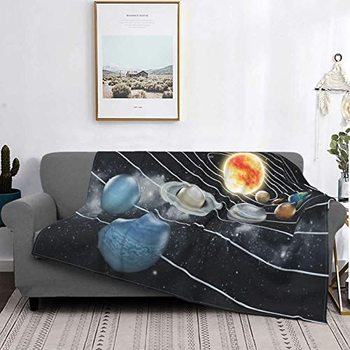 Minalo Personalized Fleece Blanket,Solar System All Eight Planets And The Sun Pluto Jupiter Mars Venus Science Fiction,Living Room/Bedroom/Sofa Couch Bed Flannel Quilt Throw Blanket,60' X 50'