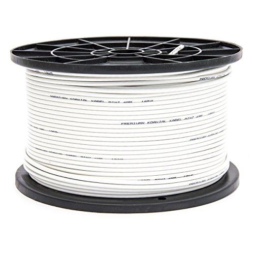 200m PremiumX Mini Koaxial Sat Kabel 4mm extra dünn Weiß Koax Antennenkabel 2-Fach geschirmt für Sat | Kabel | DVB-T - Ultra HD 4K 3D