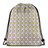 DPASIi Drawstring Shoulder Backpack Travel Daypack Gym Bag Sport Yoga, Tropical Yellow Parrots Perching on Violet and Pink Color Hydrangea Macrophyllas,5 Liter Capacity,Adjustable.