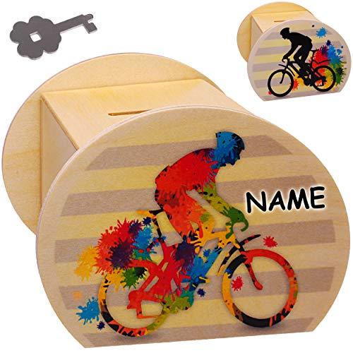 alles-meine.de GmbH Holz - Sparbüchse - Bike / Fahrrad - E-Bike - Schlüssel & Schloß - inkl. Name - groß - 11,5 cm - stabile Spardose - Sparschwein - abschließbar personalisiert ..