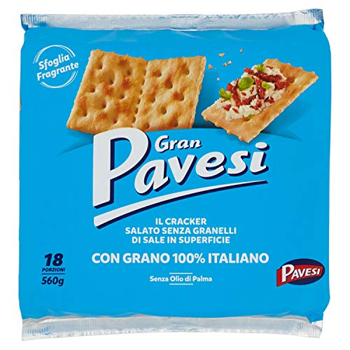Gran Pavesi Cracker Salati Senza Granelli di Sale in Superficie, Senza Olio di Palma - 18 Pacchetti (560 g)
