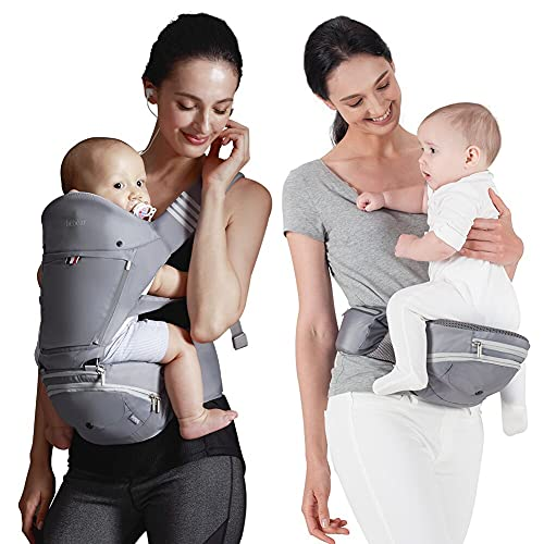 Bebamour Foldable Baby Carrier Newborn Ergonomic Convertible Baby Carrier Hip Seat Attached 3pcs Baby Drool Bibs,Head Hood,Waist Supporter Pad(Grey)