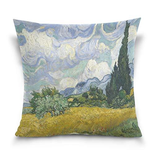 HMZXZ - Federa decorativa per cuscino, 50,8 x 50,8 cm, motivo: albero Van Gogh, pittura ad olio, per divano, camera da letto, soggiorno