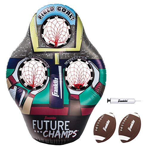 Franklin Sports 60189  Kids Football Target Toss Game - Inflatable Football Throwing Target with Footballs - Kids Football Toss Game - 45' Target, Multicolor