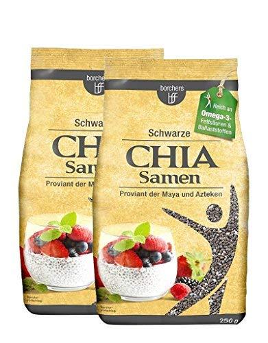2 x borchers Schwarze Chia Samen | Reich an Ballastsoffen | Quelle für Proteine | Omega-3-Fettsäuren | 250g