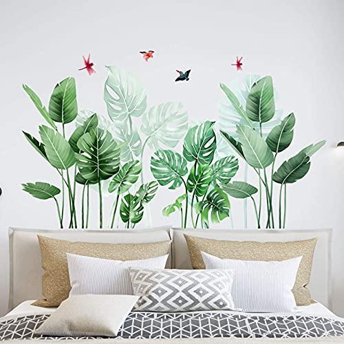 OOTSR Pegatinas de Pared Planta Tropicales, Vinilos de Pared Decorativos Hojas Verde, Murales Adhesivos y Pegatinas de Pared para Sala Habitación Dormitorio Vinilos Pared Decorativos