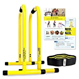 Lebert Fitness Dip Bar Stand - Original EQualizer Total Body Strengthener | Pull Up Bar Home Gym Exercise Equipment Dipping Station | Includes Hip Resistance Band, Workout Guide & Online Group - Yellow