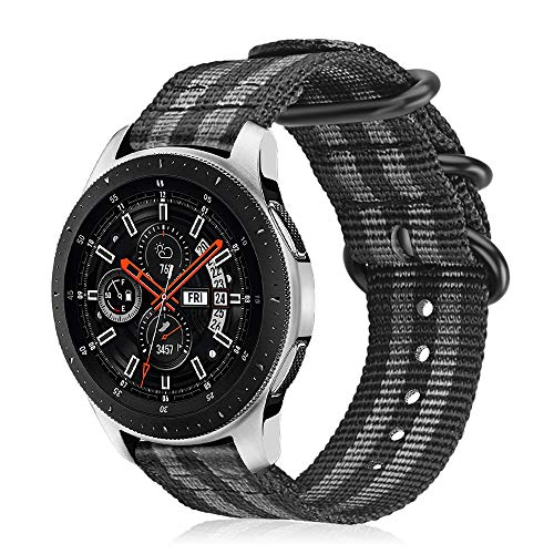 Fintie Armband kompatibel mit Galaxy Watch 46mm/Gear S3 Classic/S3 Frontier/Huawei Watch GT/GT 2/GT 2e - Nylon Uhrenarmband Sport Armband verstellbares Ersatzband mit Edelstahlschnallen, Schwarz/Grau