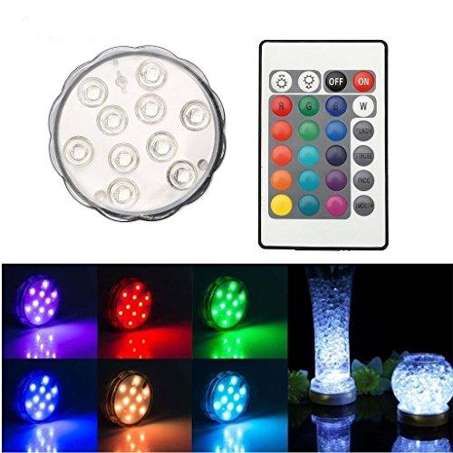 TKOOFN 1pcs Lampe 10 LED Bougie Plongée Lumière Etanche IP65 Multicolore Décoration Télécommande à Distance