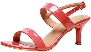 Generic Women's Partywear Leather Fashion Sandal with Front Belt Pink Color (10)