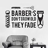 SAKHD Barber'S Don't Grow Old They Fade Wall Decal Cool Barber Shop Man Salon Haircut Beard Face Tools Logo Salon Vinyl Sticker 96cmX56cm
