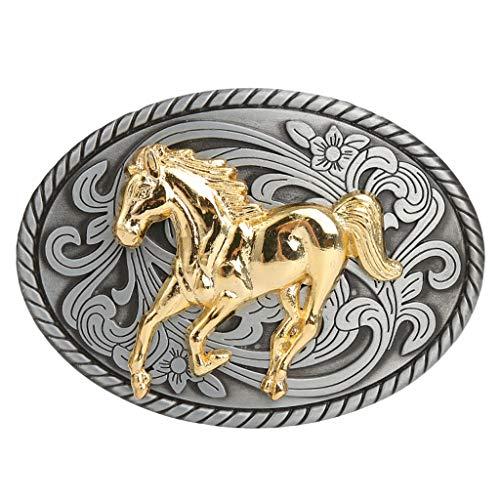 Baoblaze Hebilla de Cinturón Metal de Vaquero Occidental Vintage para Pantalones Casuales de Hombres Caballeros - Caballo
