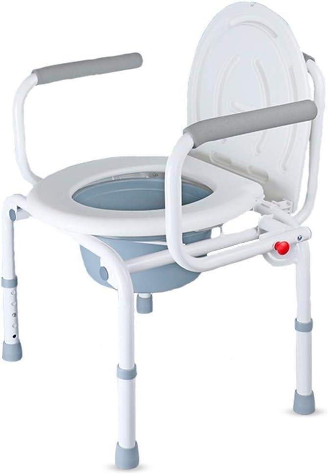 LCA Taburete Ducha Baño Plegable Silla de Ruedas Multi-función de la Silla con Orinal higiénico extraíble Antideslizante diseño de Altura Ajustable, Apto for Mujeres Embarazadas de Edad Avanzada