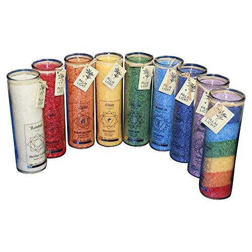 Chakra Kerzen - Palmwachs-Windlicht Mix Karton 12 Stück (ca. 100 Stunden Brenndauer)