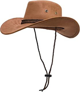 IFSUN Mens Faux Felt Wide Brim Western Cowboy Hat Fedora Outdoor Party Hats