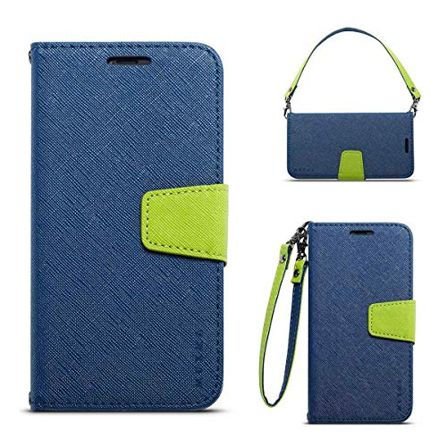 JEEXIA® Schutzhülle Für Nokia 6.1 Plus (2018), Retro PU Lederhülle Flip Cover Brieftasche Innenschlitzen Mit Stand Doppelte Farbe Ledertasche - Blau
