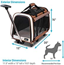 FrontPet Rolling Pet Travel Carrier - Travel Carrier with 6 Removable Wheels and Backpack Straps, Strong Breathable Mesh Panels and Comfortable Mat (12