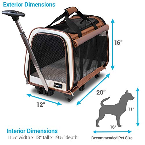 """FrontPet Rolling Pet Travel Carrier - Travel Carrier with 6 Removable Wheels and Backpack Straps, Strong Breathable Mesh Panels and Comfortable Mat (12"""" W x 20"""" L x 16"""" H)"""