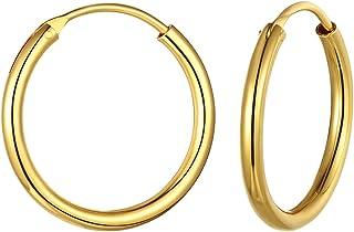 925 Sterling Silver Hoop Earrings 15mm/20mm/30mm/50mm/70mm, 18K Gold/Platinum Plated Big/Medium/Small Hypoallergenic Huggi...