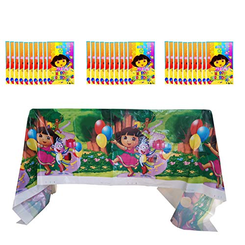 Dora The Explorer 1PCS Plastic Tablecloth and 30 PCS Gift Bags for Dora The Explorer Themed Birthday Party Decorations Supplies for Kids