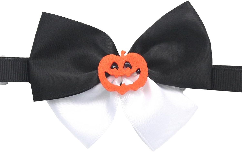50PCs Dog Collar Celebrate Halloween Black White Handmade Bow Tie Dress up Small Medium Dog