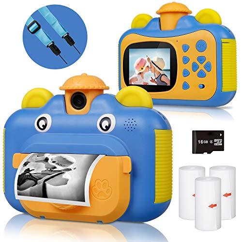 Kinderkamera, Print Kamera für Kinder, 1080P HD Videokamera mit 2,4 Zoll Screen, Sofortbildkamera Schwarzweiß-Fotokamera mit 16 GB SD-Karte und 3 Rollen Druckpapier, Geschenk für Kinder